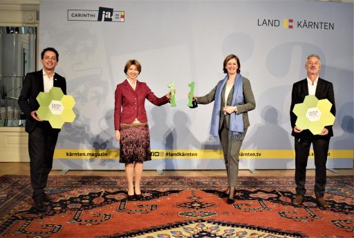 von links: Bernhard Puttinger (GF Green Tech Cluster) , LHSTv.in Gaby Schaunig, LR.in Barbara Eibinger-Miedl und KWF Vorstand Erhard Juritsch