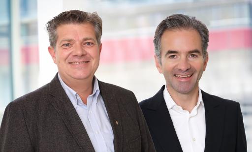 """Zukunftsforum SHL Obmänner Andreas Rotter und Martin Hagleitner (v.l.n.r.) über den Geheimtipp """"Heizungstausch im Winter""""."""