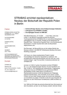EANS-News: Strabag errichtet repräsentativen Neubau der Botschaft der Republik Polen in Berlin
