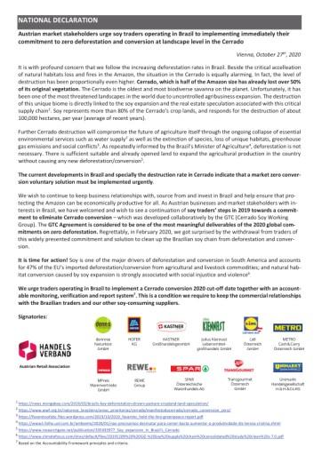 Österreichischer Lebensmittelhandel unterstützt WWF Forderung nach Stopp der Abholzung in Cerrado Savanne