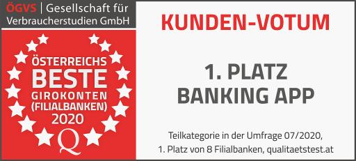 ÖGVS Siegel für das Volksbank hausbanking - beste Banking App