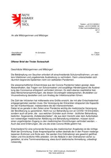 Ärztekammer für Tirol wendet sich in einem offenen Brief an die Bevölkerung
