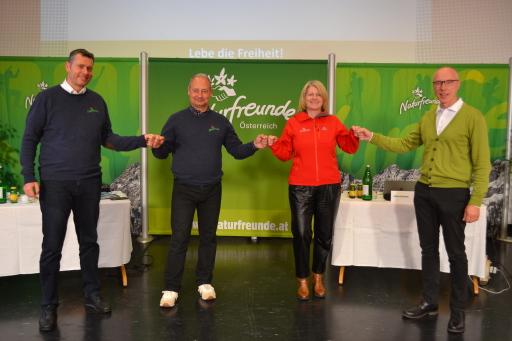 Günter Abraham, Andreas Schieder, Karin Scheele und Thomas Lehner nach der Neuwahl des Präsidium.