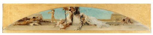 """Gustav Klimt, """"Altar des Dionysos, 1886, Entwurf für das Deckengemälde im südlichen Stiegenhaus (Giebelfeld) des Burgtheaters, Öl auf Leinwand, 32 x 158 cm, Leopold Museum, Wien, Schenkung aus Privatbesitz"""