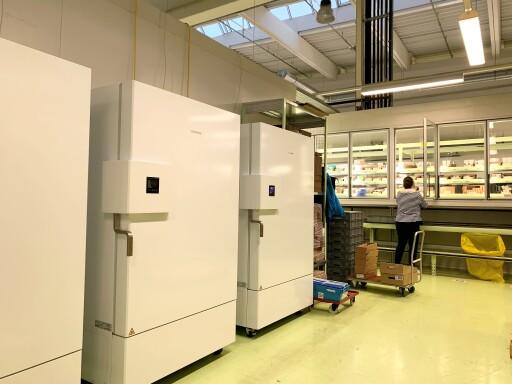 """Ein sogenannter """"Ultra Freezer"""" für die künftige Lagerung eines Corona-Impfstoffes an einem der 23 PHAGO-Lagerstandorte."""