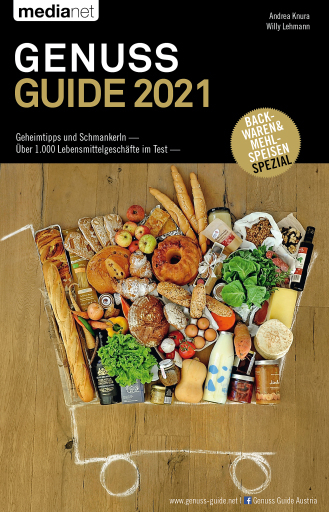 Cover Genuss Guide 2021 mit Gast-Bundesland Vorarlberg sowie Schwerpunktthema Backwaren und Mehlspeisen