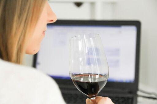 Junge Dame mit PC und Weinglas