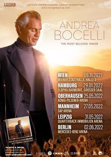 Tourneeverschiebung: Weltstar ANDREA BOCELLI - The Most Beloved Tenor