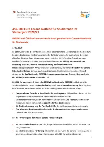 450.000 Euro Corona-Nothilfe für Studierende im Studienjahr 2020/21