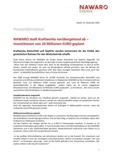 NAWARO stellt Kraftwerke vorübergehend ab – Investitionen von 24 Millionen EURO geplant