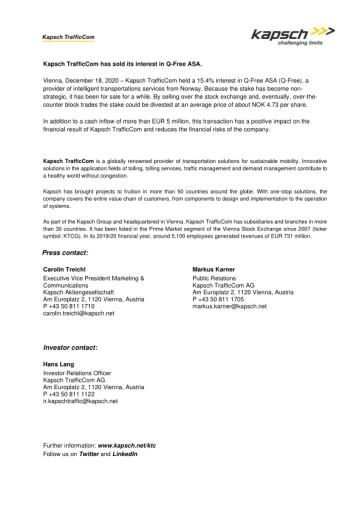 EANS-News: Kapsch TrafficCom has sold its interest in Q-Free ASA.