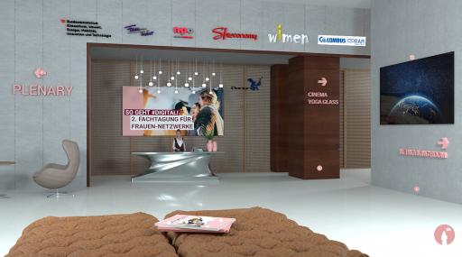 Screenshot, der die Virtual Venue zeigt, die den Teilnehmerinnen ein beinahe reales Konferenzerlebnis ermöglichen soll