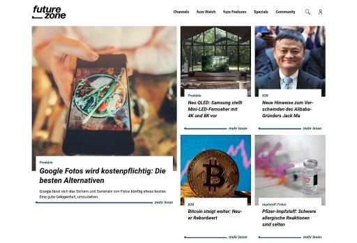 Ein Screenshot der neuen futurezone-Startseite