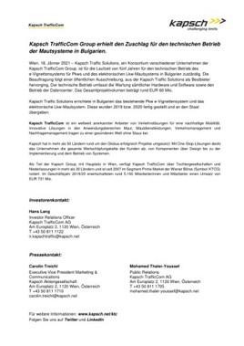 EANS-News: Kapsch TrafficCom Group erhielt den Zuschlag für den technischen Betrieb der Mautsysteme in Bulgarien.