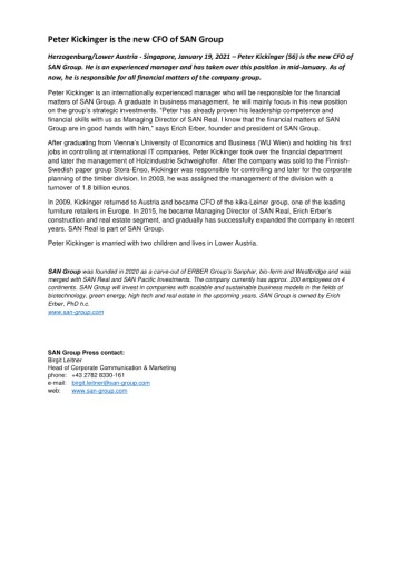 Mag. Peter Kickinger ist neuer CFO der SAN Group