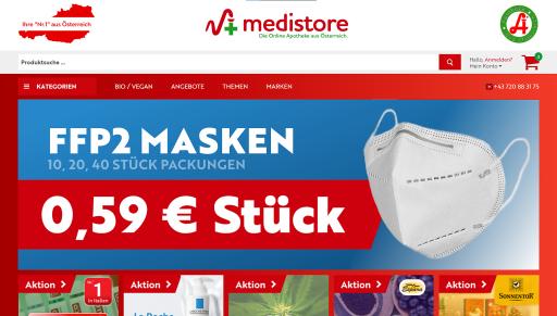 medistore.at, die Online-Apotheke aus Österreich, bietet für Privatpersonen FFP2-Masken um 59 Cent ohne Mengenbeschränkung mit einem einfachen Mausklick.