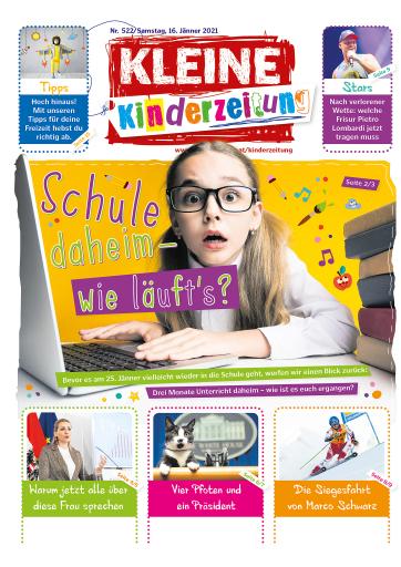 Aktuellere Titelseite Kleine Zeitung Kinderzeitung beispielhaft zur Themenauswahl während der Covid 19 Pandemie