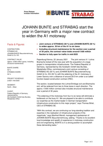 EANS-News: JOHANN BUNTE and STRABAG start the year in Germany with a major new contract to widen the A1 motorway