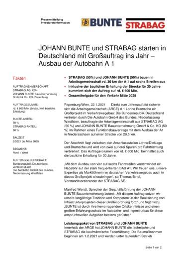 EANS-News: JOHANN BUNTE und STRABAG starten in Deutschland mit Großauftrag ins Jahr – Ausbau der Autobahn A 1