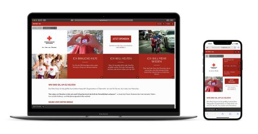 Screenshot neue Webseite Österreichisches Rotes Kreuz - Desktop und Mobilansicht