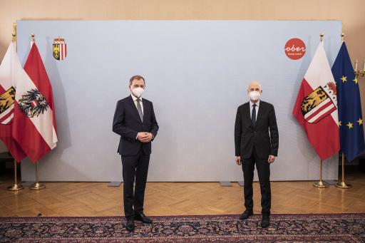 Antrittsbesuch von Arbeitsminister Martin Kocher bei OÖ LH Thomas Stelzer.