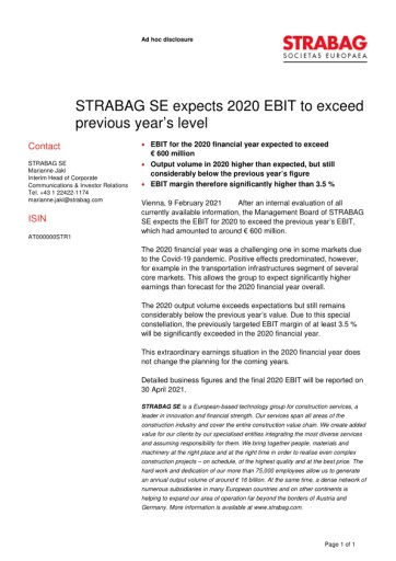 EANS-Adhoc: STRABAG SE expects 2020 EBIT to exceed previous year's level