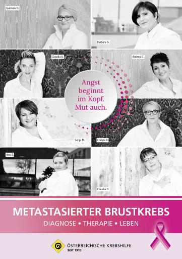 """Die Broschüre """"Metastasierter Brustkrebs"""" ist kostenlos bei der Krebshilfe im Bundesland erhältlich oder als Download unter www.krebshilfe.net."""