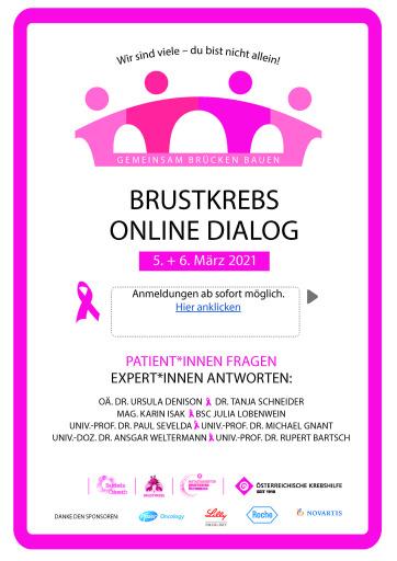BRUSTKREBS ONLINE DIALOG am 5.3./6.3.2021 Patient*innen fragen - Expert*innen antworten.