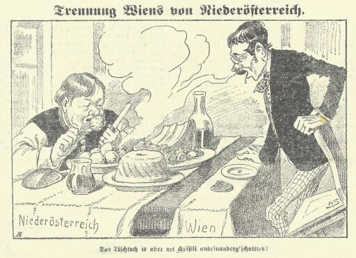 Karikatur Trennung Wiens von Niederösterreich