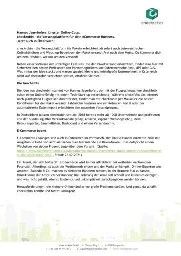 Hannes Jagerhofers jüngster Coup: checkrobin – die Versandplattform für das eCommerce-Business - Jetzt auch in Österreich