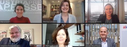 """Das Online-Podium der Diskussion """"Ein Jahr Corona und die Medien"""" v. oben links: Maria Scholl (Moderation, APA), Martina Salomon (Kurier), Corinna Milborn (ProSieben.Sat1.PULS 4), Johannes Bruckenberger (APA), Waltraud Langer (ORF) und Gerald Mandlbauer (OÖN)."""