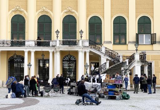 Dreharbeiten beim Schloss Schönbrunn