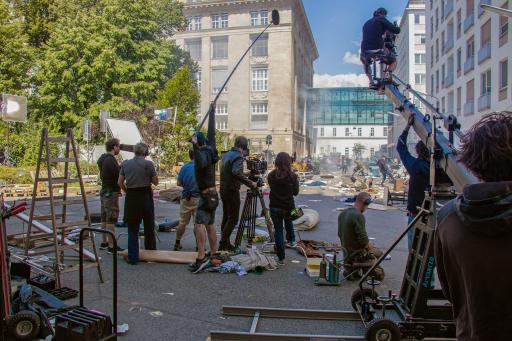 Dreharbeiten am Otto-Wagner-Platz