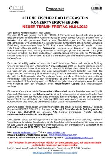 HELENE FISCHER Bad Hofgastein KONZERTVERSCHIEBUNG auf 2022