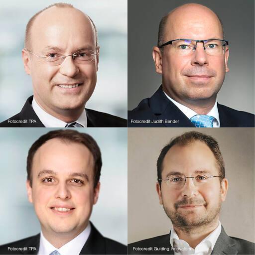 Von links oben im Uhrzeigersinn: Andreas Gotwald, TPA Unternehmensberatung; Jürgen Kaiser, sarema; Michael Nester, TPA Steuerberatung; Paul Pöltner, Guiding Innovators.