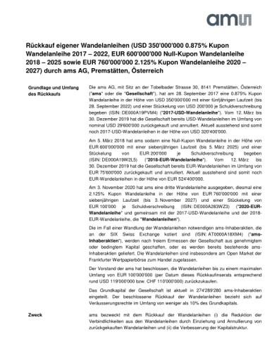 EANS-Adhoc: ams AG / Rückkauf eigener Wandelanleihen