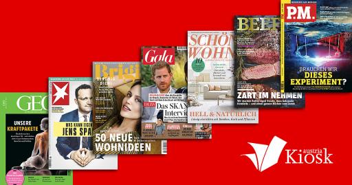 GEO, stern, Brigitte, Gala, Schöner Wohnen, Beef, P.M. Magazin und viele weitere Titel ab sofort auf www.kiosk.at verfügbar