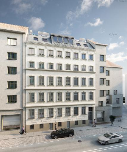 Bis zum vierten Quartal 2022 bekommt dieses fünfgeschossige Zinshaus eine historische Fassade. Im Zuge des Dachgeschossausbaus entstehen 25 Wohnungen mit Balkonen in den ruhigen Innenhof.