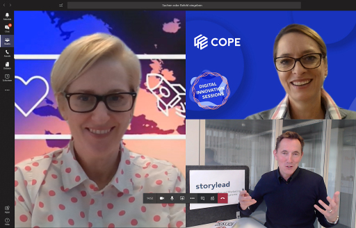 Nicola Dietrich (Chief Strategy Officer bei COPE Content Performance Group), Xenia Daum (CEO bei COPE Content Performance Group) & Steven Loepfe (Storylead-Gründer)