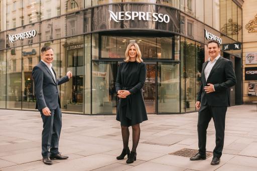 v.l.: Klaus Slamanig (B2C Commercial Director Nespresso Österreich), Nina Ganahl (Marketing Director Nespresso Österreich), Alessandro Piccinini (Geschäftsführer Nespresso Österreich)