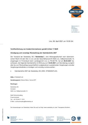 EANS-Adhoc: Swietelsky AG / Kündigung und vorzeitige Rückzahlung der Hybridanleihe 2007
