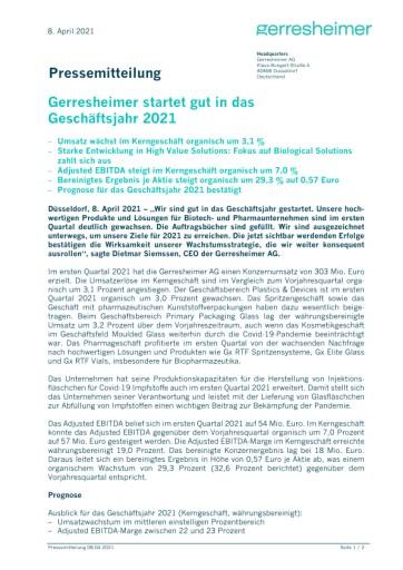 Gerresheimer startet gut in das Geschäftsjahr 2021