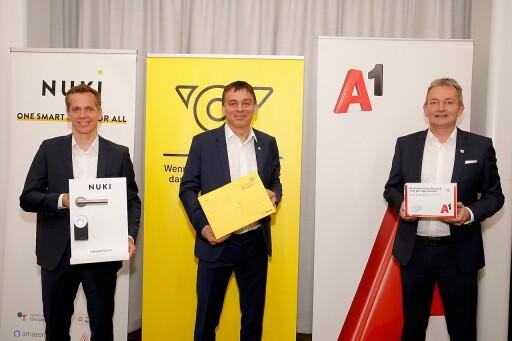Mag. Martin Pansy, CEO der Nuki Home Solutions GmbH, DI Peter Umundum, Vorstand für Paket & Logistik, Österreichische Post AG, Marcus Grausam, CEO der A1 Telekom Austria AG