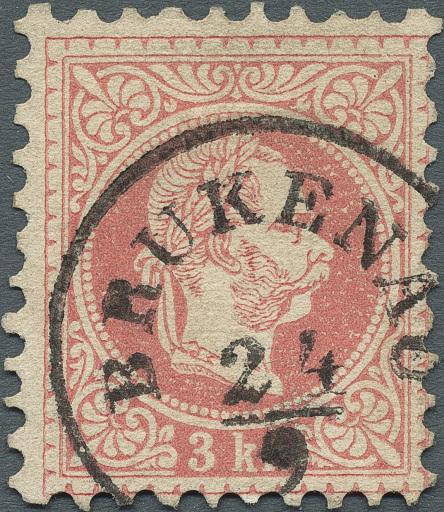 Die teuerste Österreichisch-Ungarische Marke: 3 Kreuzer Farbfehldruck 1867 in Rot statt Grün aus der Sammlung König Carol II von Rumänien.