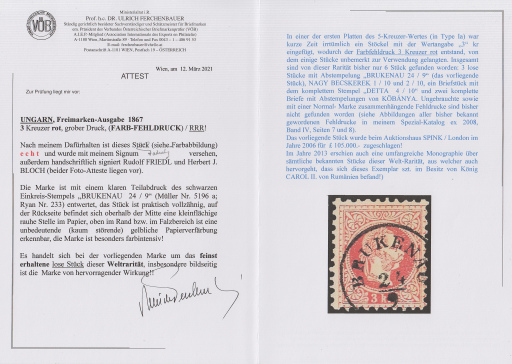 Attest des Briefmarkenprüfers Dr. Ulrich Ferchenbauer für die vorliegende 3 kr Marke in Farbfehldruck Rot anstatt Grün.