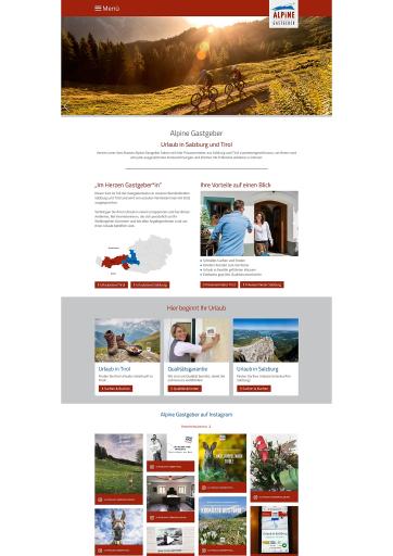 Screenshot Landingpage Alpine Gastgeber