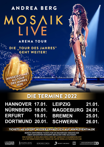 ANDREA BERG MOSAIK Live Arena Tour - Die Tour des Jahres geht weiter!