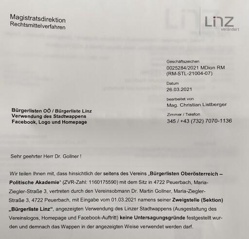 Politische Akademie der Bürgerlisten Oberösterreich/ Sektion Bürgerliste Linz