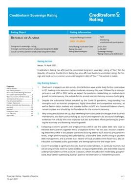 Creditreform Rating AG bestätigt AA+ für die Republik Österreich