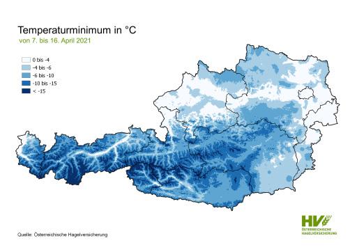 Tiefsttemperaturen 7. bis 16. April 2021